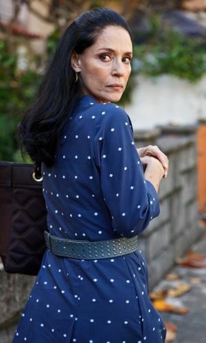 Sonia Braga durante participação em episódio da série de TV global