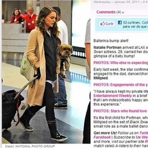 A atriz Natalie Portman no aeroporto de Los Angeles