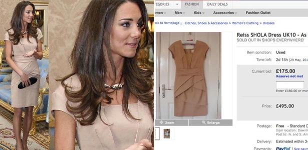 Imagem mostra vestido de Kate Middleton sendo vendido no e-bay