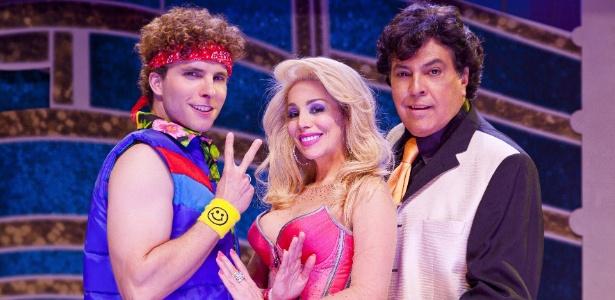 "Thiago Fragoso, Danielle Winits e Sidney Magal no musical ""Xanadu"" (2012)"