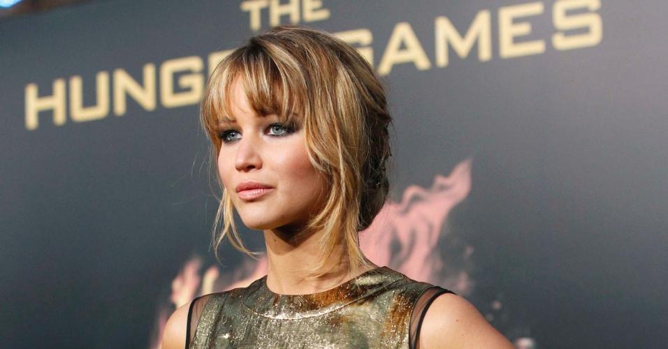 """A atriz Jennifer Lawrence, que interpreta Katniss Everdeen em """"Jogos Vorazes"""", na pré-estreia do filme em Los Angeles (12/3/12)"""