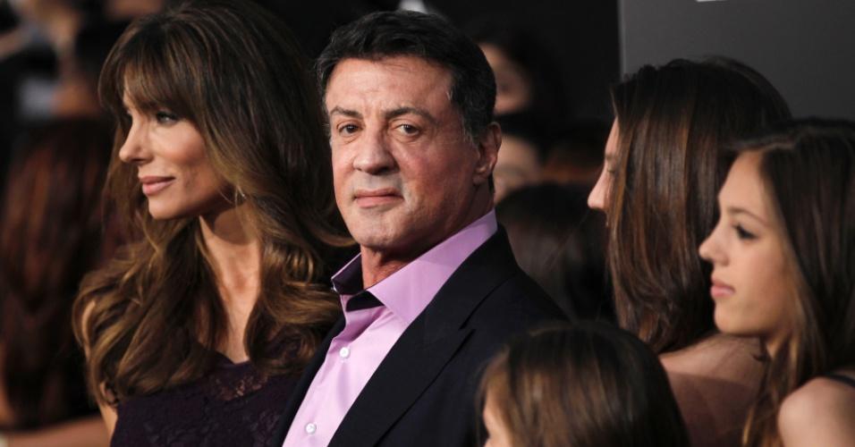 """O ator Sylvester Stallone na pré-estreia de """"Jogos Vorazes"""" em Los Angeles (12/3/12)"""