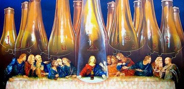 """Mostra """"Cerveja e Arte"""", em Madri, reúne obras de artistas sobre cerveja. Na foto, a obra 'Cerveja Judas', de Pedro Grifol"""