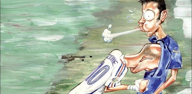 Cabeçada de Zidane no traço do caricaturista argentino Germán Aczel, que lançou livro relembrando momentos marcantes da história das Copas do Mundo - German Aczel - Copa do Mundo 1930 - 2006, editora Sports Books
