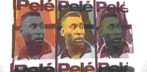Uma das 35 telas que retratam trajetória de Pelé na exposição em Johanesburgo - Divulgação