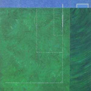 """Detalhe do óleo sobre tela """"Campos de Jogo"""" (1989), do brasileiro Cildo Meireles, uma das obras da mostra sobre futebol no Rio de Janeiro - Divulgação"""
