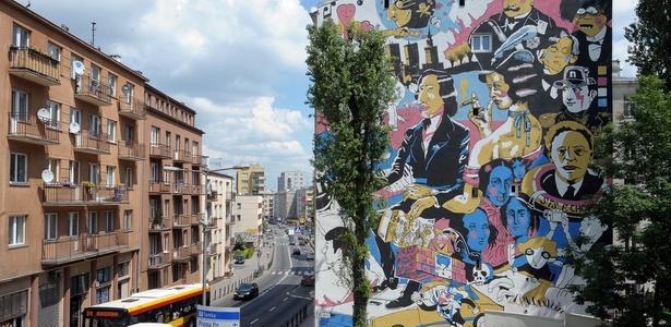 Mural homenageia o compositor Frederic Chopin (1810 - 1849) em Varsóvia, na Polônia