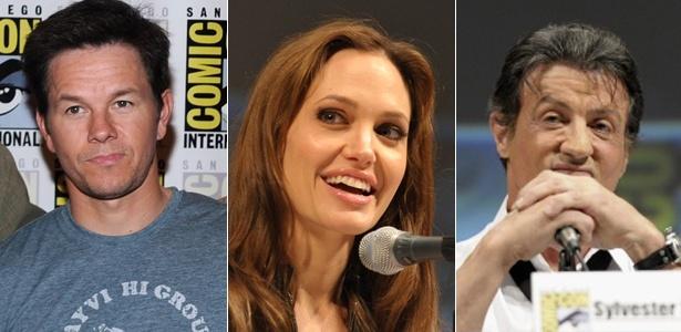 Mark Wahlberg, Angelia Jolie e Sylvester Stallone, atores que passaram pela Comic-Con - Montagem Getty Images / Dan Steinberg / AP