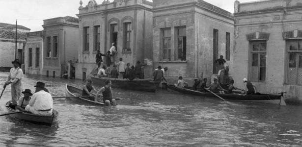 Foto de enchente na cidade de São Paulo no ano de 1929