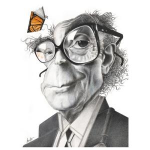Caricatura do escritor José Saramago, um dos <BR>275 trabalhos selecionados em Piracicaba