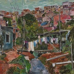 "Detalhe da acrílica sobre tela ""Favela Villa Broncos"", de Bob Dylan (02/09/2010) - AP"