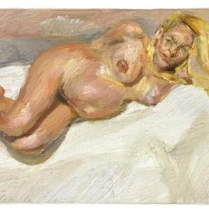 """Detalhe de """"Eight Months Gone"""", de Lucian Freud, que mostra Jerry Hall quando estava grávida de oito meses de seu quarto filho, Gabriel, em 1997 - AP / Sotheby""""s"""