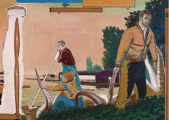 """Um dos artistas alemães mais influentes hoje, Neo Rauch terá trabalhos exibidos no Masp; detalhe da obra """"Lago"""" (2000; óleo sobre tela; 200 x 400 cm) - Divulgação / Cortesia Masp"""