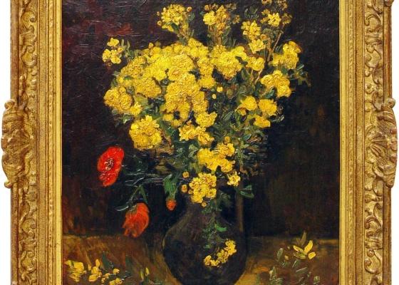 """O quadro """"Flores de Papoula"""", de Van Gogh, que foi roubado em agosto de museu egípcio - Ministério Egípcio de Cultura / AFP"""