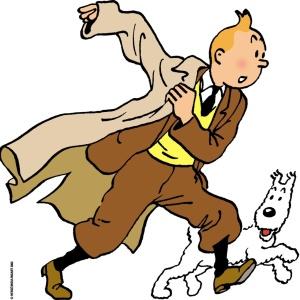 O personagem de quadrinhos belga Tintin com seu cachorro de confiança Milou - Cortesia Fundação Hergé Moulinsart / AP