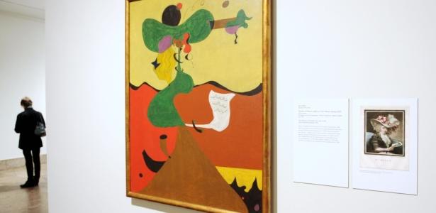 """Obra """"Retrato da Senhora Mills em 1750"""", de Joan Miró, faz parte de mostra com seus trabalhos no Metropolitan Museum of Art de Nova York (04/10/2010) - Stan Honda / AFP"""