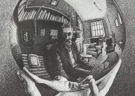 """Litografia """"Autorretrato no Espelho Esférico"""" (1950): mostra """"O Mundo Mágico de Escher"""" exibe os trabalhos mais conhecidos do mestre ilusionista até 26/12 em Brasília - Divulgação / The M.C. Escher Company B.V. Baarn, The Netherlands"""