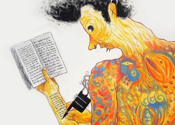 """Pintura do quadrinista e ilustrador Rafael Sica, que faz parte da mostra """"O Riso é Livro"""" - Divulgação / Inês Arigoni"""