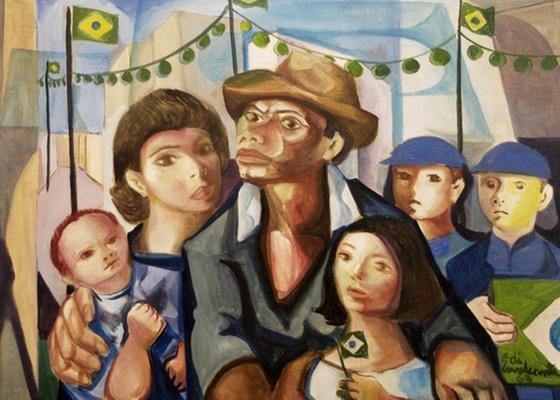 """Detalhe de """"Independência"""", de Di Cavalcanti, uma das 600 obras em exposição - Divulgação / Cortesia Caixa Cultural"""