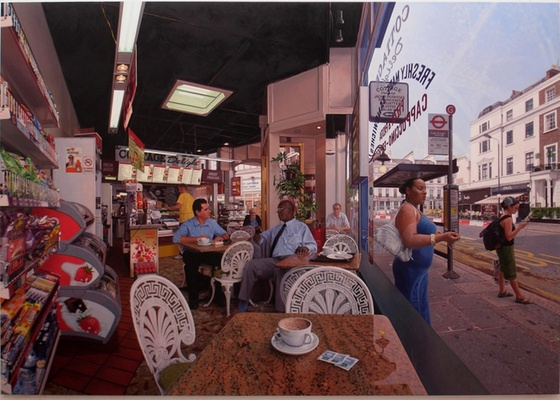 """""""Coffee at the Cottage"""", pintura hiperrealista de Clive Head em exposição na National Gallery - Private Collection, courtesy of Marlborough Fine Art Ltd, photography by Prudence Cumming Associates"""