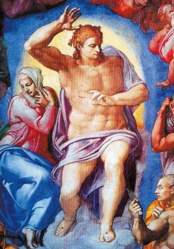 "Cristo e Maria centralizam a cena do ""Juízo Final"" pintado por Michelangelo na parede do altar da capela Sistina, no Vaticano"