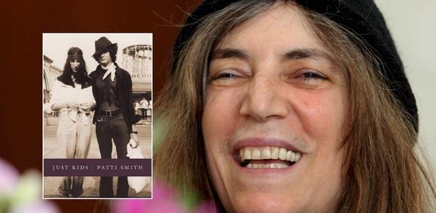 """A roqueira Patti Smith e a capa de seu livro de memórias """"Só Garotos"""", vencedor do Prêmio Nacional do Livro (National Book Awards) dos Estados Unidos - Reprodução / Bogdan Borowiak/Efe"""