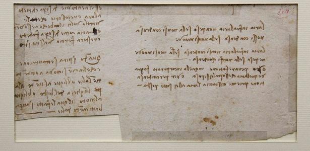 Fragmento perdido de um manuscrito do pintor renascentista Leonardo da Vinci encontrado em uma biblioteca pública do oeste da França (06/12/2010) - Stephane Mahe / Reuters