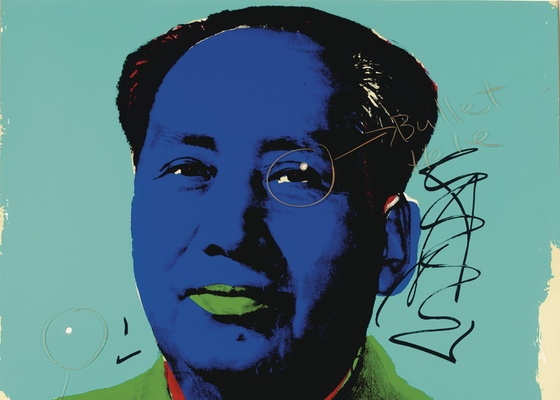 Retrato de Mao Tse-tung feito por Warhol com perfurações causadas por tiros de Dennis Hopper - EFE