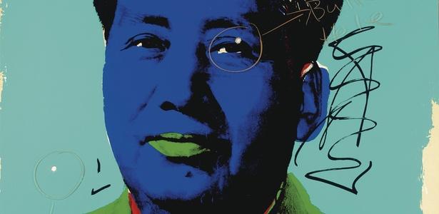Retrato de Mao Tse-tung feito por Andy Warhol, e que contém duas perfurações por causa de tiros disparados pelo ator Dennis Hopper - EFE