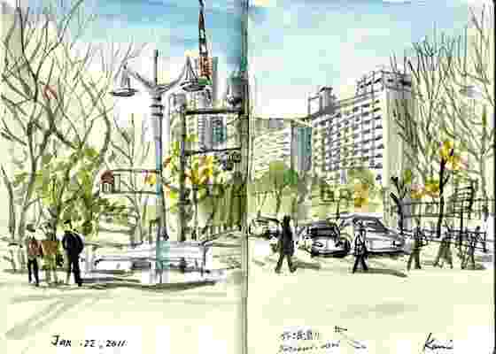 Desenho feito durante 30ª edição do projeto SketchCrawl pela japonesa Kumi Matsukawa - Reprodução / www.sketchcrawl.com