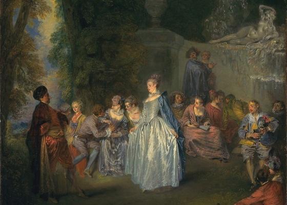 """""""Prazeres Venezianos"""", óleo sobre tela de Jean-Antoine Watteau - AP Photo/National Gallery of Art"""
