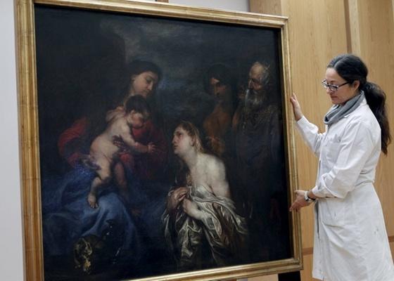"""""""A Virgem e a Criança com os Pecadores Arrependidos"""", obra de Anthonius van Dyck encontrada no porão do Museu de Belas Artes de San Fernando, em Madri, na Espanha (18/03/2011)   - Chema Moya/EFE"""