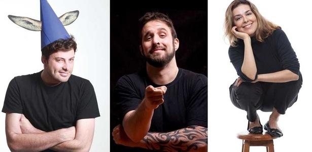 Da esquerda para a direita, os comediantes Danilo Gentili, Rafinha Bastos e Marcela Leal, indicam seus espetáculos de humor favoritos - Divulgação/Fotomontagem