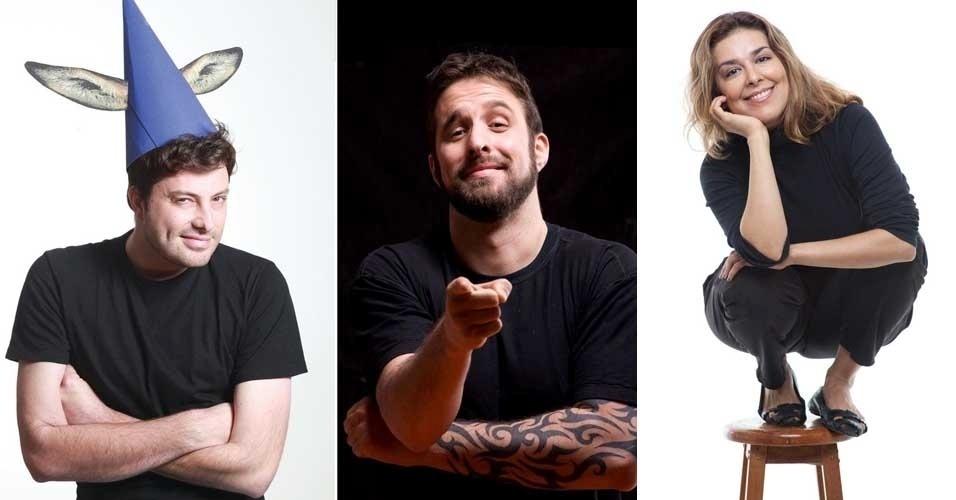 Da esquerda para a direita, os comediantes Danilo Gentili, Rafinha Bastos e Marcela Leal, indicam seus espetáculos de humor favoritos