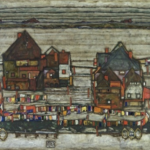 "Obra ""Häuser mit bunter Wäsche (Vorstadt II)"" (Casas com roupas coloridas penduradas, em tradução livre) de Egon Schiele - Cortesia/Sotheby""s"