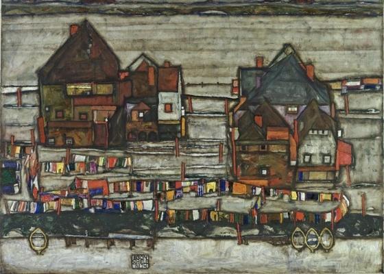 """Obra """"Häuser mit bunter Wäsche (Vorstadt 2º)"""" (Casas com roupas coloridas penduradas, em tradução livre) de Egon Schiele - Cortesia/Sotheby""""s"""