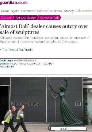 """Reprodução do Daily mail mostra fachada da galeria Moor House, com escultura """"Alice no País das Maravilhas"""", de Salvador Dalí - Reprodução"""
