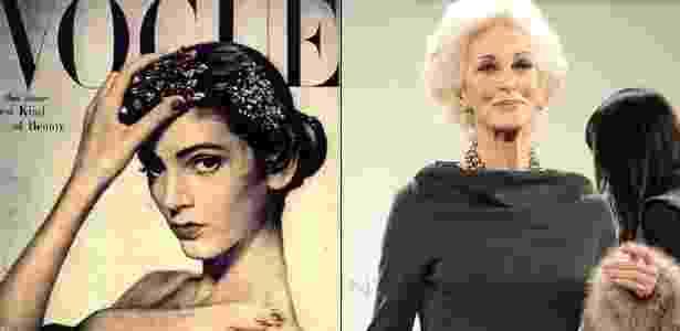 """Carmen Dell""""Orefice na capa da revista """"Vogue"""" em 1947, aos 16 anos, e desfilando em 2011, aos quase 80 - Reprodução/Getty Images"""