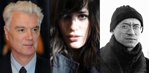Da esq. para a dir., David Byrne, Paola Olaixarac e Joe Sacco, convidados da Flip 2011 - Montagem UOL