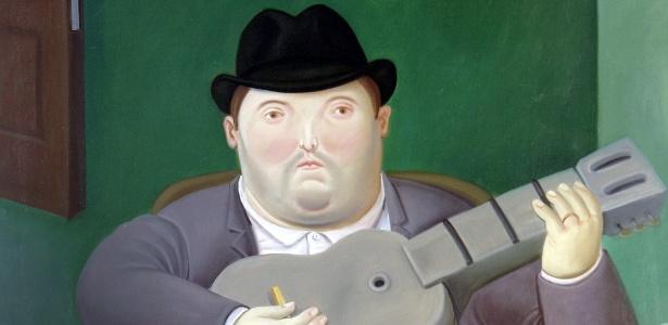 """Obra """"Hombre con guitarra"""" (1989), de Fernando Botero, que integra feira de arte moderna e contemporânea Latino-Americana PINTA, em Londres - Efe"""