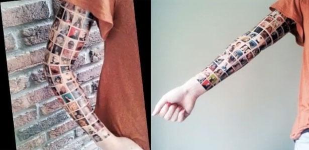 Braço da holandesa tatuado com os rostos de 152 amigos da rede social - Reprodução/www.youtube.com/user/susyj87