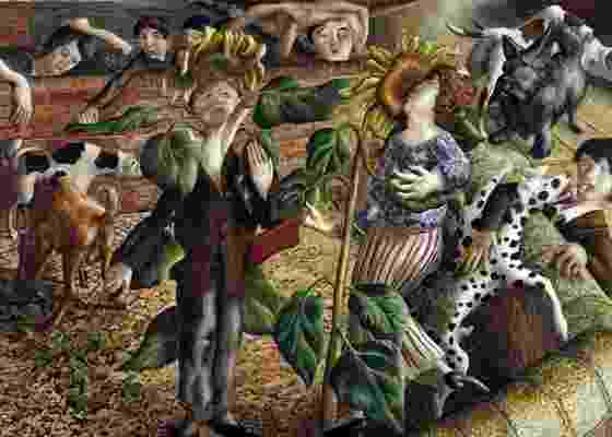 """Imagem do quadro de Stanley Spencer """"Sunflower and dog"""", vendido por mais de seis milhões - EFE"""