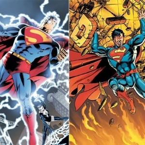 Super-Homem com sua roupa atual (e) e com a roupa que o herói usará no recomeço da série pela DC - Divulgação/DC Comics