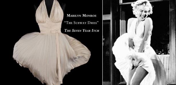 """Imagem do vestido branco icônico de Marilyn Monroe (esq) usado em """"O Pecado Mora ao Lado"""" (dir), divulgada pela casa de leilões Profiles in History, dos EUA, que no sábado (18) leiloará a peça - EFE/The Lippin Group / Divulgação"""