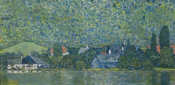 "Detalhe da obra ""Litzlberg am Attersee"", de Gustav Klimt - Reprodução"