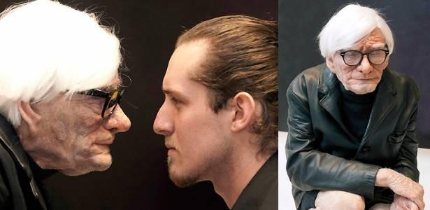 O artista Edgar Askelovic e sua criação, uma escultura de Andy Warhol aos 83 anos - Divulgação
