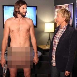 Ashton Kutcher aparece sem roupa para promover ?Two and a Half Men? no programa de Ellen DeGeneres (8/9/11)
