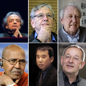 Do topo e da esquerda para a direita, Adonis, Israelo, Tomas Transtroemer, Nuruddin Farah, Haruki Murakami e Peter Nadas são alguns dos favoritos - AFP PHOTO