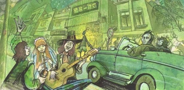 """Ilustração da Rua Augusta, da exposição """"X-Sampa, uma Viagem Musico-Visual"""" - Divulgação/MatilhaCultural"""