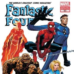 """Capa da edição número 600 do """"Quarteto Fantástico"""", que marca a volta do personagem Tocha Humana - AP"""
